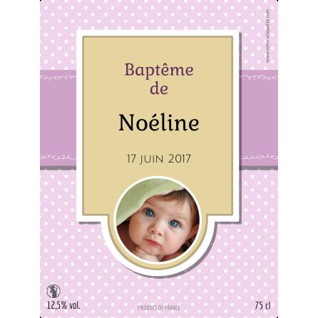 Étiquette autocollante personnalisée baptême fille