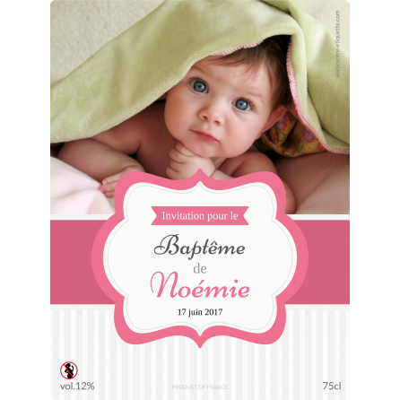 Étiquette autocollante personnalisée baptême avec photo