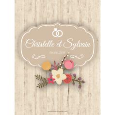 Étiquette autocollante personnalisée bois et fleurs