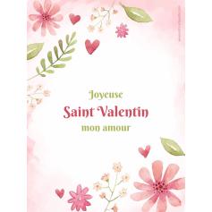 Étiquette personnalisée autocollante modèle Saint Valentin