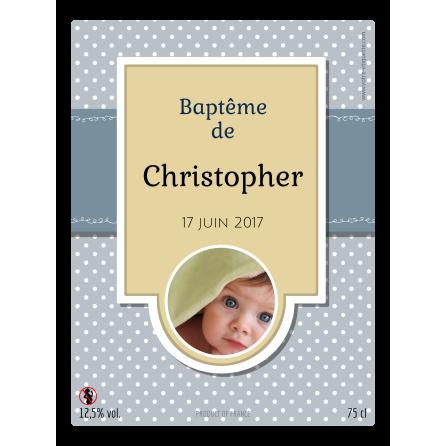 Étiquette autocollante personnalisée baptême rond