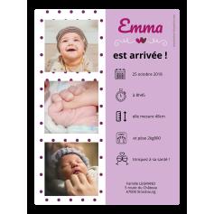 Étiquette personnalisée autocollante annonce de naissance