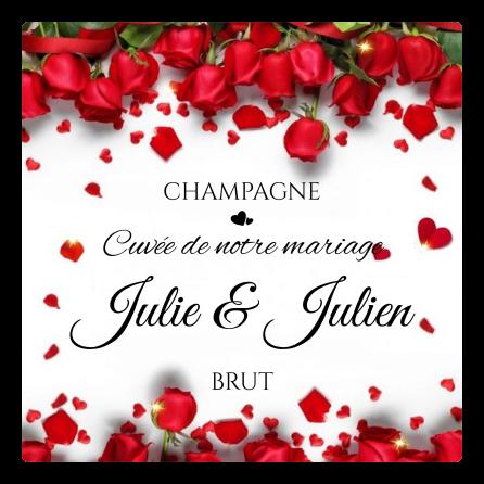 Étiquette personnalisée mariage élégante avec roses