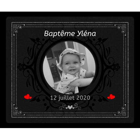 Étiquette personnalisée autocollante noire baptême et coeurs rouges