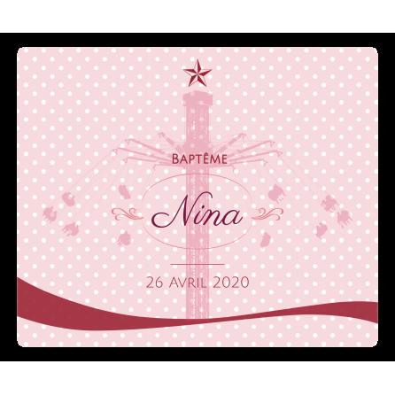 Étiquette personnalisée autocollante baptême rose