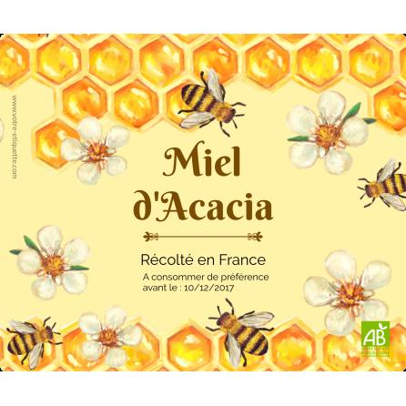 Étiquette autocollante personnalisée miel abeilles
