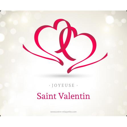Étiquette personnalisée autocollante modèle Saint Valentin ruban
