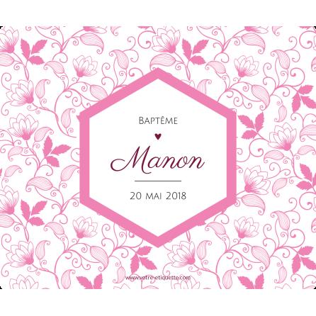 Étiquette autocollante personnalisée baptême losange rose