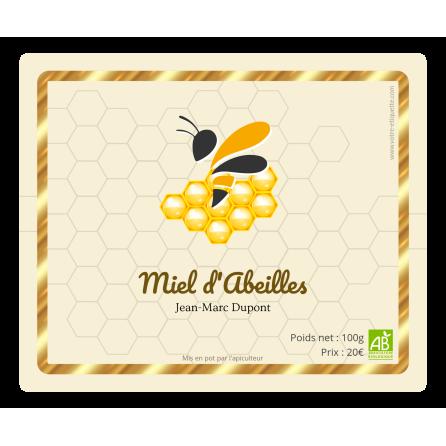 Étiquette autocollante personnalisée miel bio