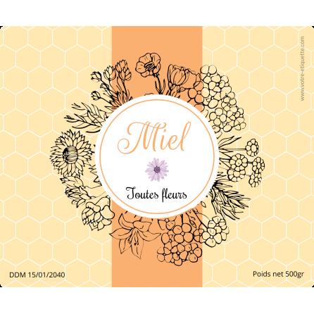 Étiquette autocollante personnalisée miel toutes fleurs