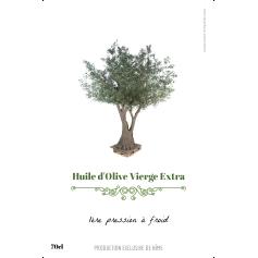 Étiquette personnalisée huile d'olive modèle arbre