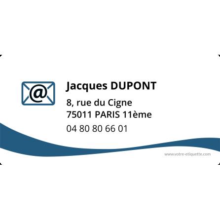 Étiquette autocollante personnalisée adresse bleue