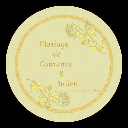 Étiquette personnalisée végétale ronde mariage or