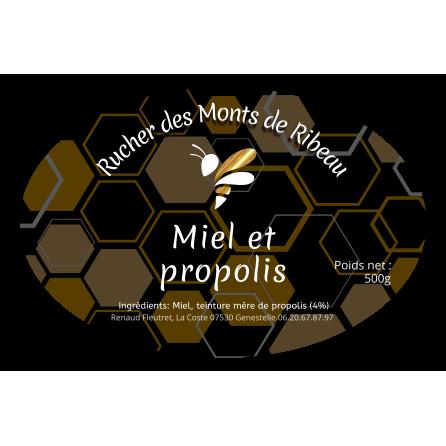 Étiquette personnalisée autocollante miel et propolis