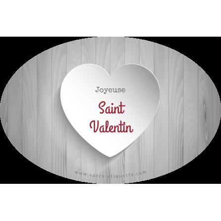 Étiquette personnalisée autocollante modèle Saint Valentin ovale grise