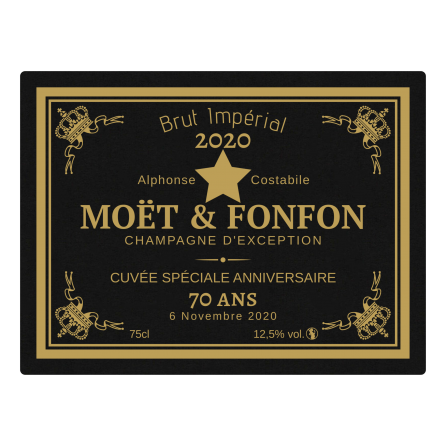 Étiquette personnalisée autocollante champagne anniversaire noir et jaune