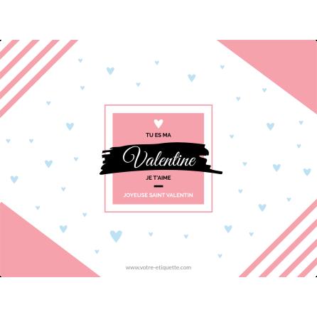 Étiquette personnalisée autocollante modèle Saint Valentin moderne