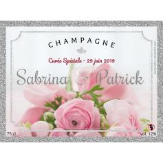 Étiquette personnalisée mariage champagne argentée