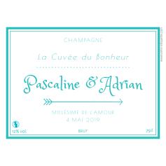 Étiquette personnalisée mariage champagne cuvée du bonheur