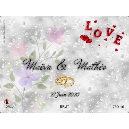 Étiquette autocollante personnalisée mariage love