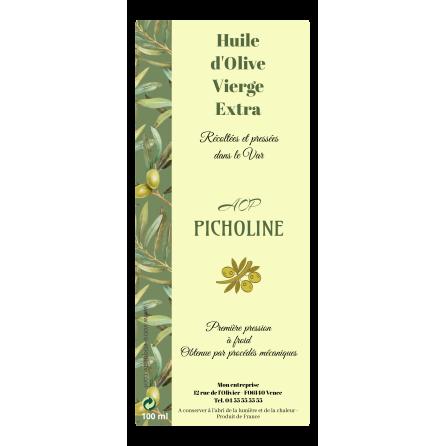 Étiquette autocollante personnalisée huile d'olive verticale olivier