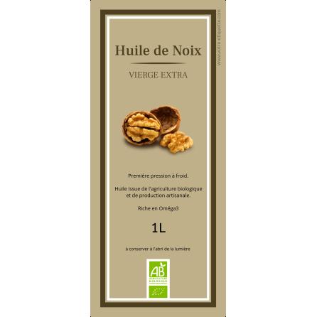 Étiquette autocollante personnalisée huile de noix bio