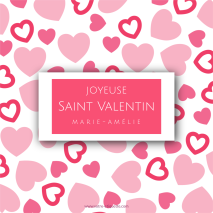 Personalized label template pink heart Valentine's Day