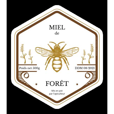 Étiquette autocollante personnalisée miel hexagone