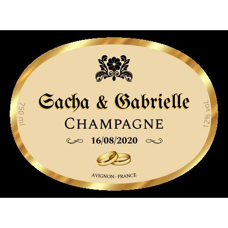 Étiquette personnalisée autocollante modèle champagne ovale