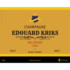 Étiquette autocollante personnalisée Champagne Kriks