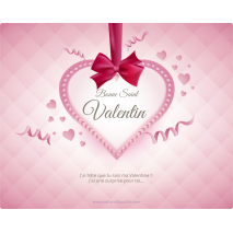 Custom label heart and ribbon template Valentine's Day