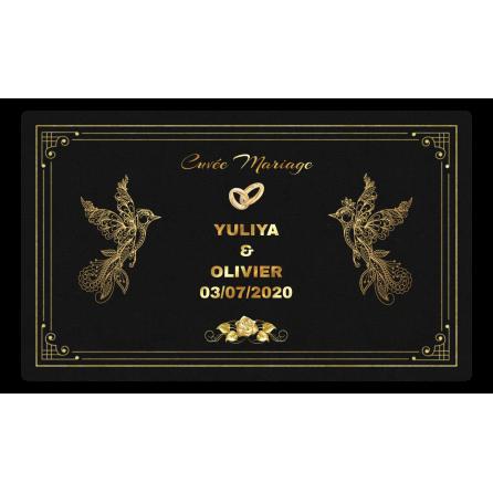 Étiquette personnalisée autocollante mariage noir et or avec oiseaux