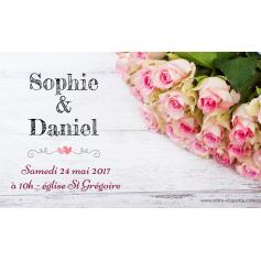 Étiquette autocollante personnalisée mariage bouquet de roses