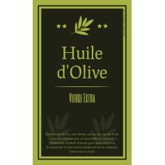Étiquette autocollante personnalisée huile d'olive vert