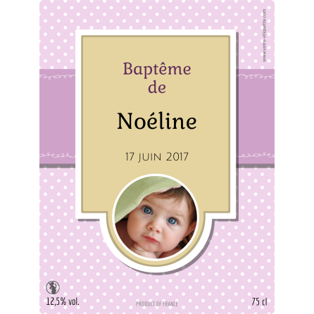 Personalized sticker girl baptism label