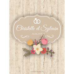 Personalized sticker label wood and flowers