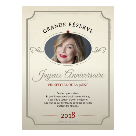 Personalized adhesive label birthday 40 years Authentic