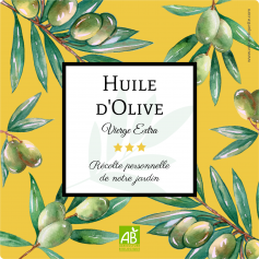 Personalized sticker label pastel olive oil