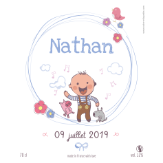 Self-adhesive personalized label simple baptism