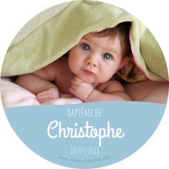 Personalized sticker round baptism