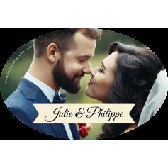 Personalized oval wedding sticker