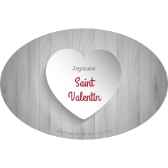 Personalized label sticker template oval valentine gray