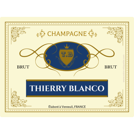 Personalized label Champagne Blanco