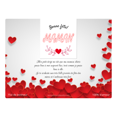 Personalized label template mother's day heart