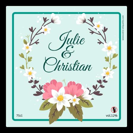 Personalized sticker label wreath in flowers