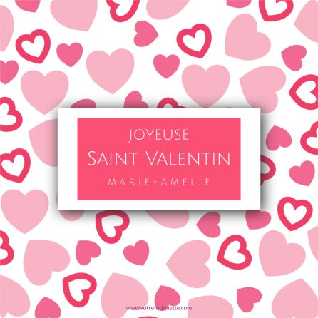 Personalized label sticker pink heart pattern