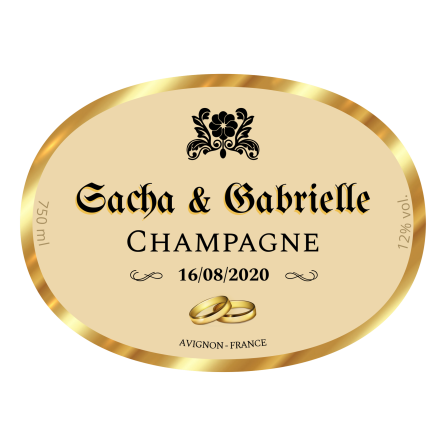 Personalized label sticker template oval champagne