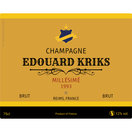 Champagne Kriks Self Adhesive Label