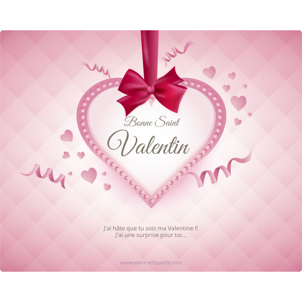 Personalized Label Sticker Template Heart Ribbon Valentine S Day