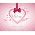 Personalized label sticker template heart ribbon